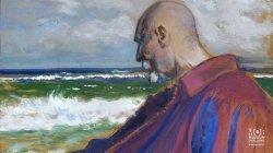 Autoportret - Leon Wyczółkowski na tle morza, obraz olejny