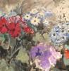 fragment akwareli Wyczółkowskiego przedstawiająca kwiaty
